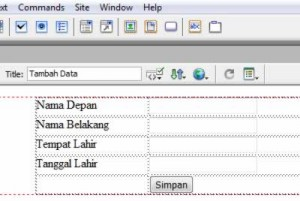 Form Tambah Data Dreamweaver